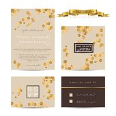 Elegant wedding set with rsvp and save the date cards, decorated with golden glitter.
