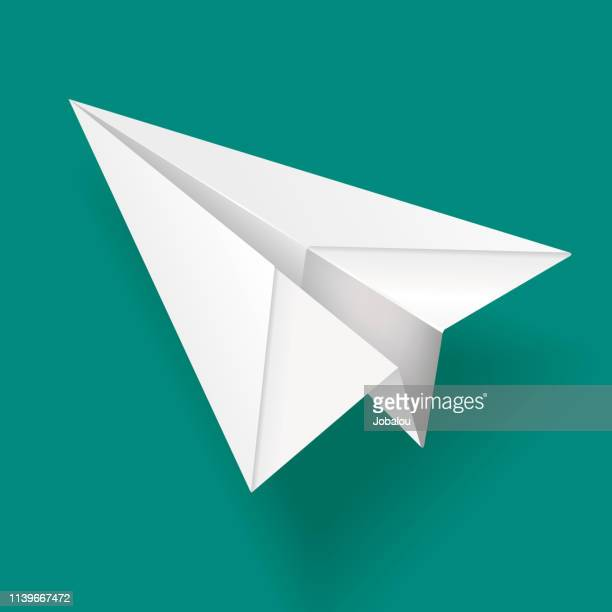 elegant white paper airplane - origami stock illustrations