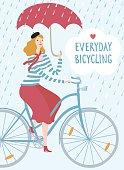 Elegant woman cyclist under the rain vector illustration