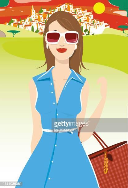 ilustraciones, imágenes clip art, dibujos animados e iconos de stock de mujer elegante con vestido de verano caminando en el campo - melena mediana