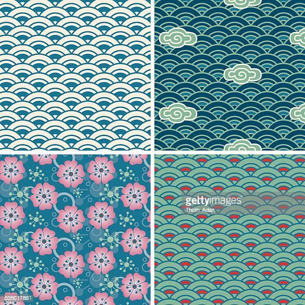 illustrations, cliparts, dessins animés et icônes de element eau (motif sans couture set) - paradisiaque