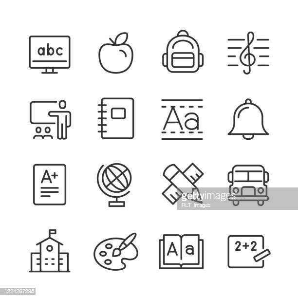 elementary education icons — monoline series - art and craft stock illustrations