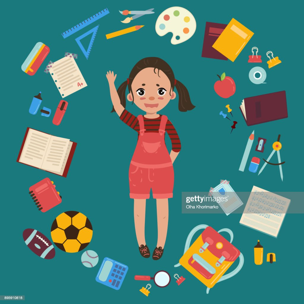 Elementary or middle school girl with supplies