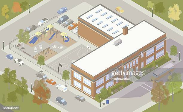 elementary school building illustration - mathisworks architecture stock illustrations