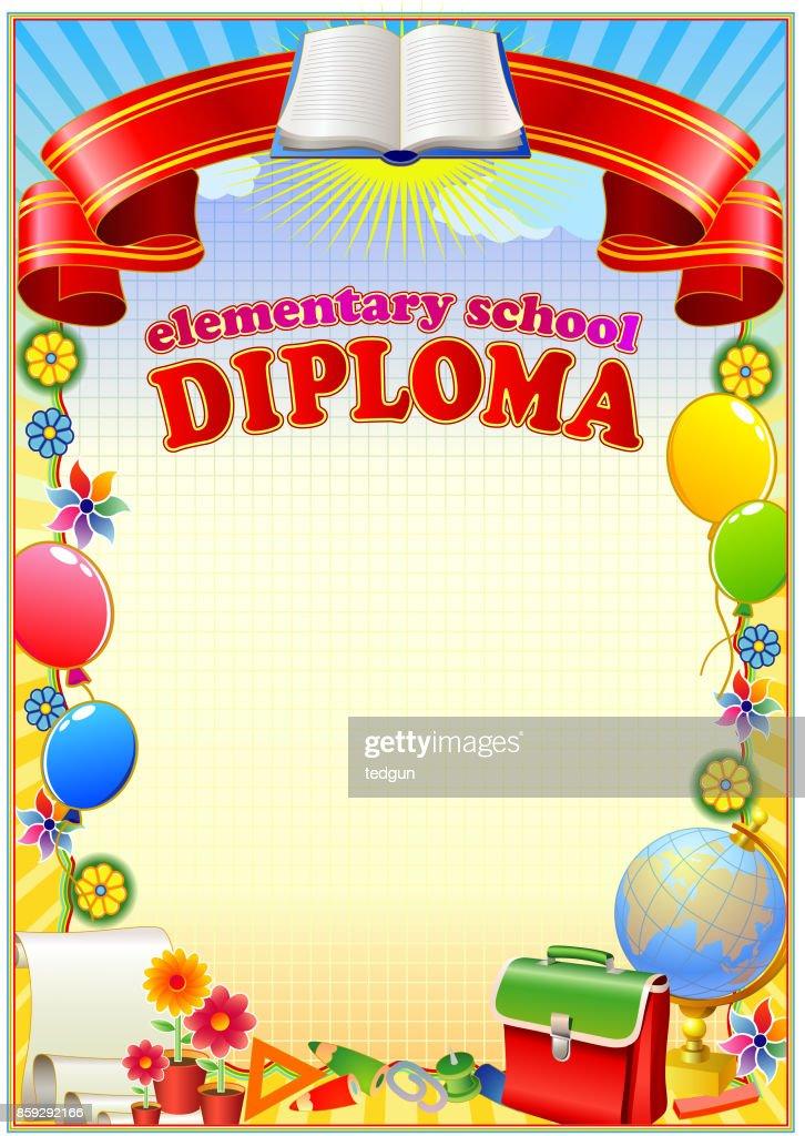 Elementary school Diploma blank template