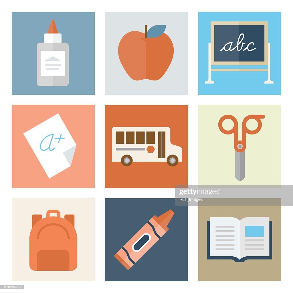 Elementary School Icons — Flat Series