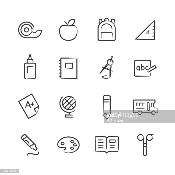 elementary school icons — sketchy series - report card stock illustrations