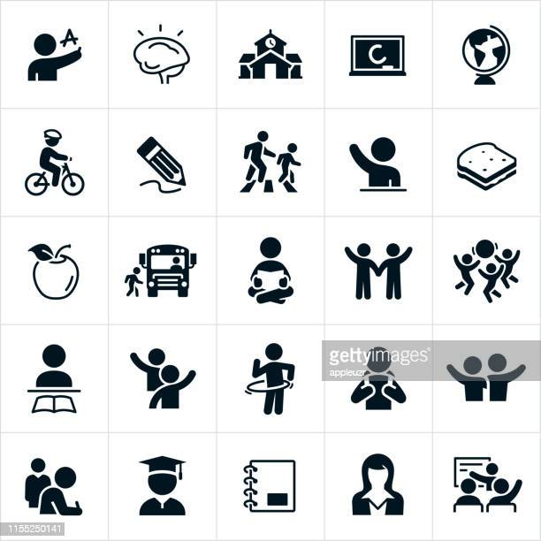 elementary school icons - showing stock illustrations