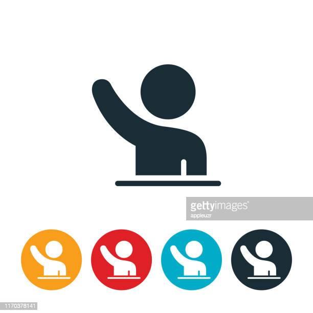 ilustraciones, imágenes clip art, dibujos animados e iconos de stock de icono de la mano de elevación de estudiantes de primaria - alzar los brazos