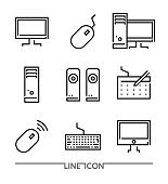 PC elements and devices thin line vector