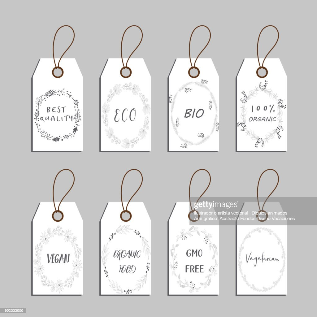 Elements collection for food market labels