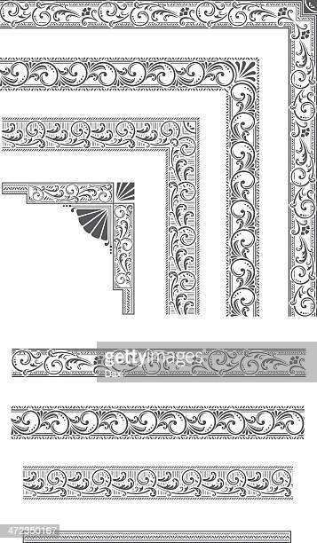 elements for frames - baroque style stock illustrations