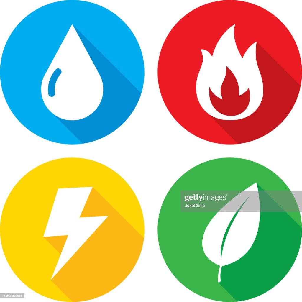 Elements Icon Set : stock illustration