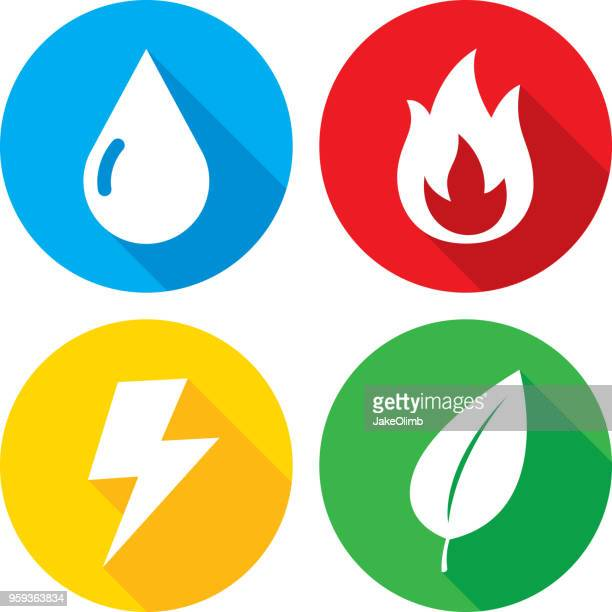elements icon set - fire natural phenomenon stock illustrations, clip art, cartoons, & icons
