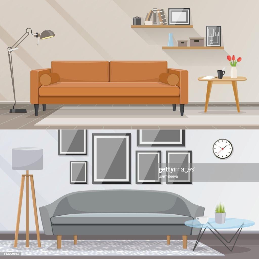 Elemente Der Innenausstattung Und Wohnzimmer Möbel Vektorkonzept ...