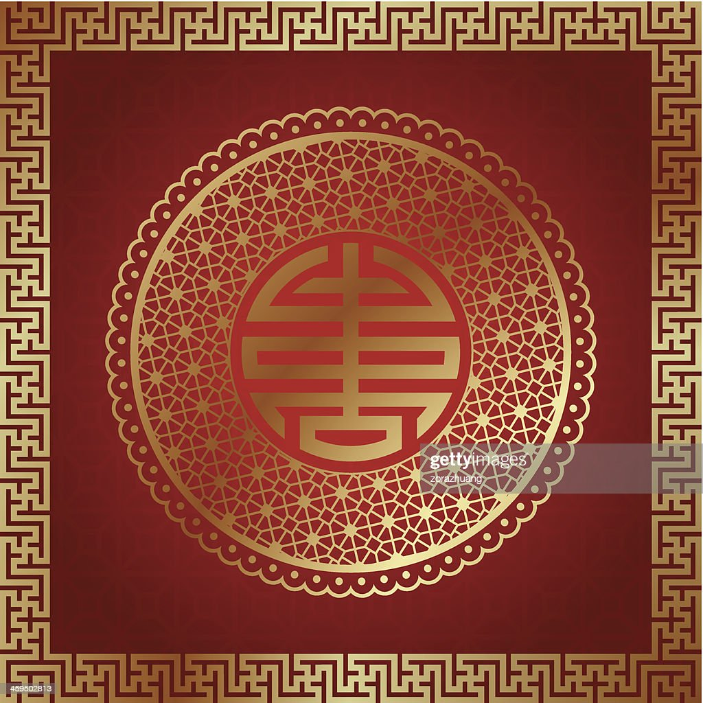 Elements pattern and longevity with red and gold