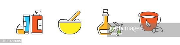 ilustrações de stock, clip art, desenhos animados e ícones de spa elements related vector line icons. outline symbol collection. - massagista