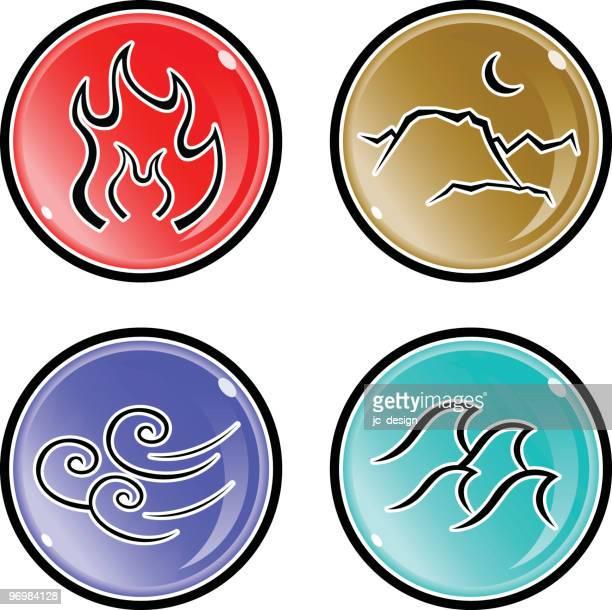 ilustraciones, imágenes clip art, dibujos animados e iconos de stock de elementos - los cuatro elementos