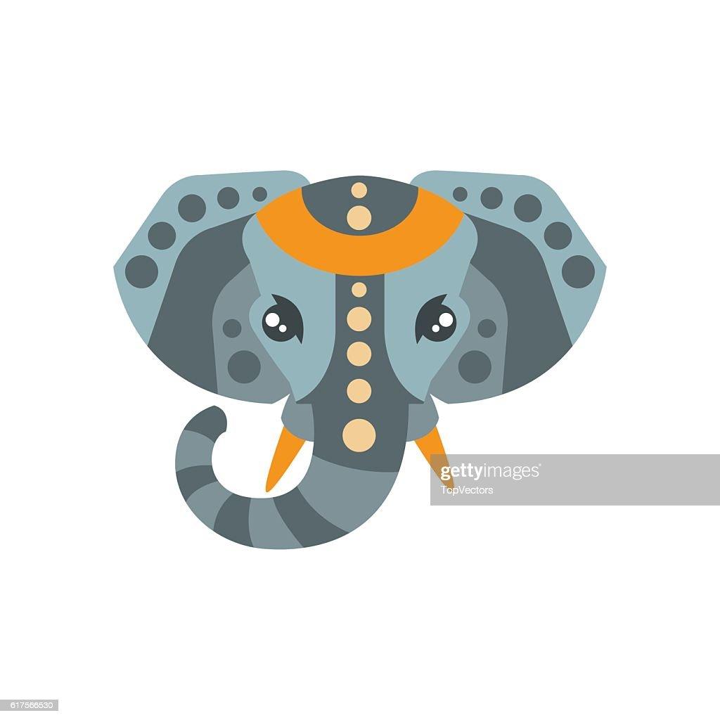 Elephant African Animals Stylized Geometric Head