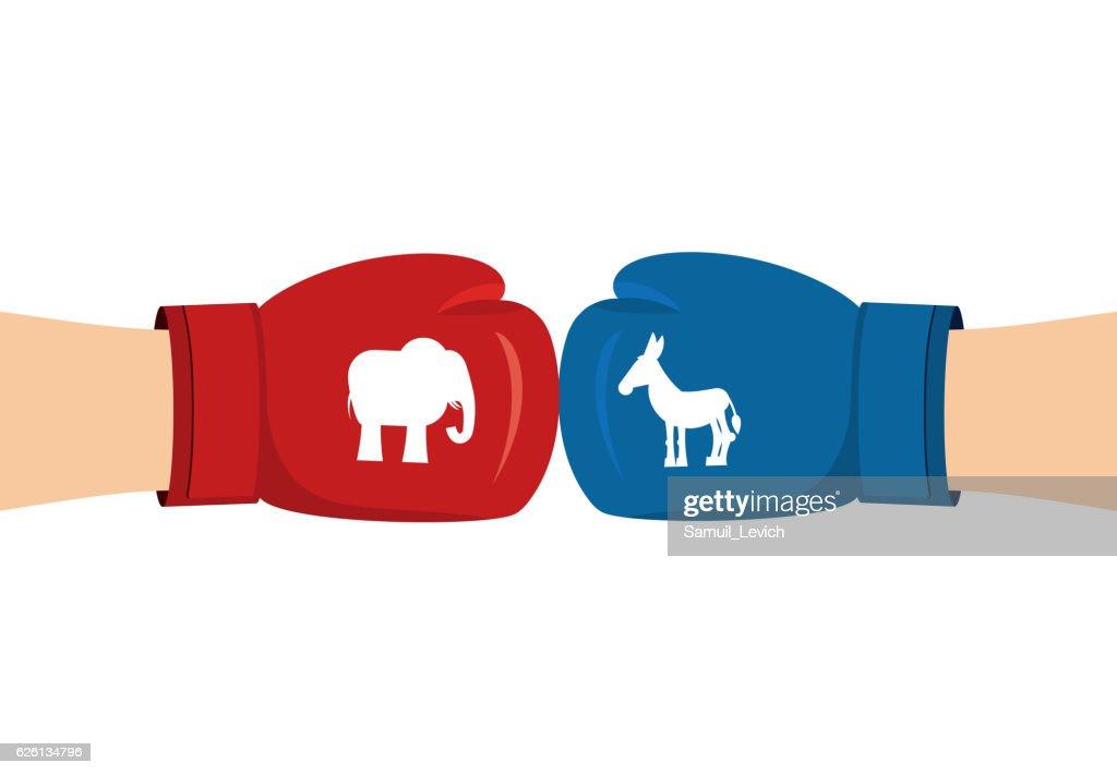 Elephant and Donkey boxing gloves. Symbols of USA political part