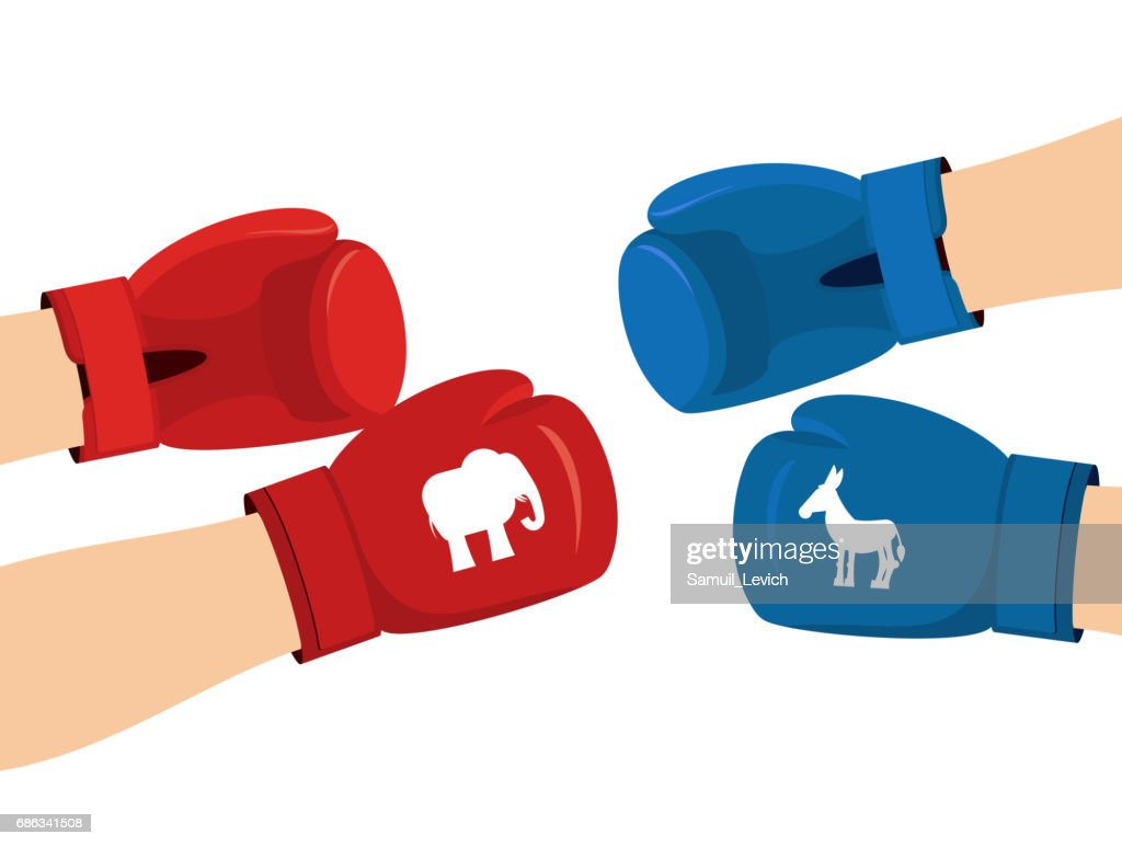 Elephant And Donkey Boxing Gloves Symbols Of Usa Political Party