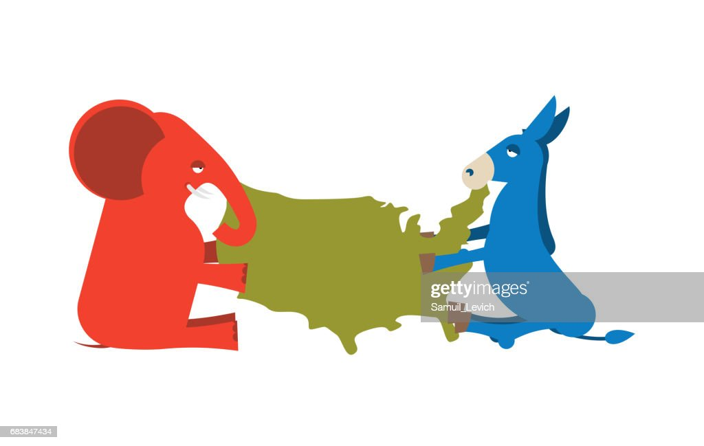 Elephant and Donkey divided map of America. USA political party. Republicans against Democrats. Presidential Election United States. race for power : stock illustration