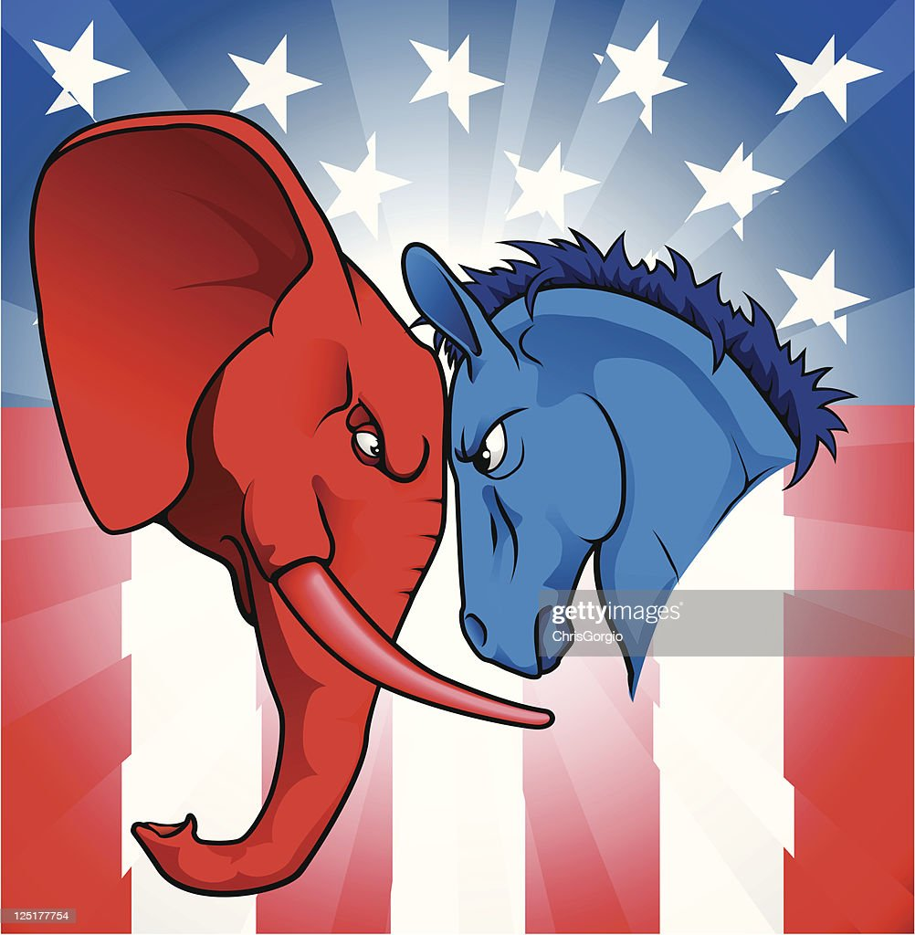 Elephant and donkey facing each other for American politics