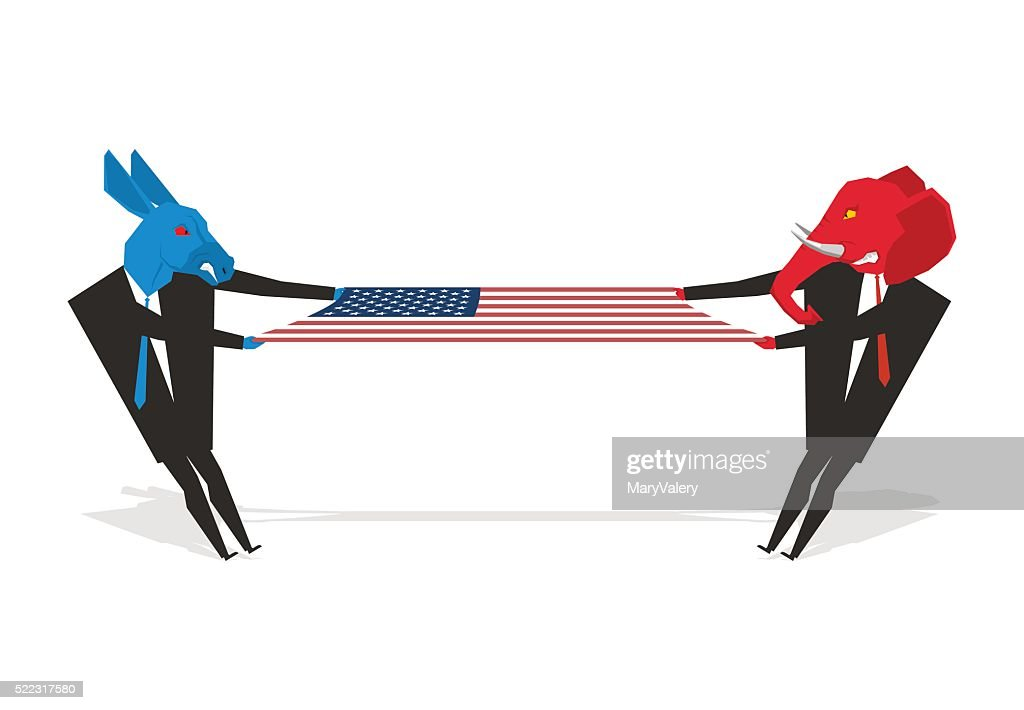 Elephant and donkey pulled american flag. Democrats and Republic