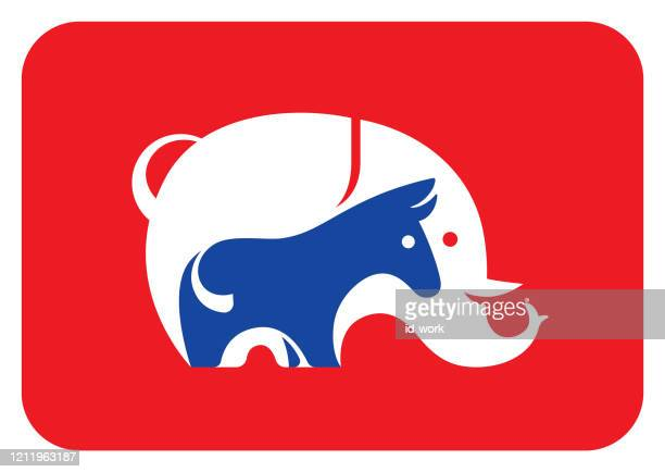 elephant and donkey symbol - us republican party stock illustrations