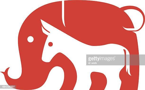 elephant and donkey symbol - donkey stock illustrations, clip art, cartoons, & icons