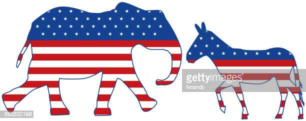 elephant and donkey - us republican party stock illustrations, clip art, cartoons, & icons