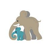 Elephant and elephant calf