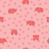 elephant and flower. pink baby background. vector seamless pattern