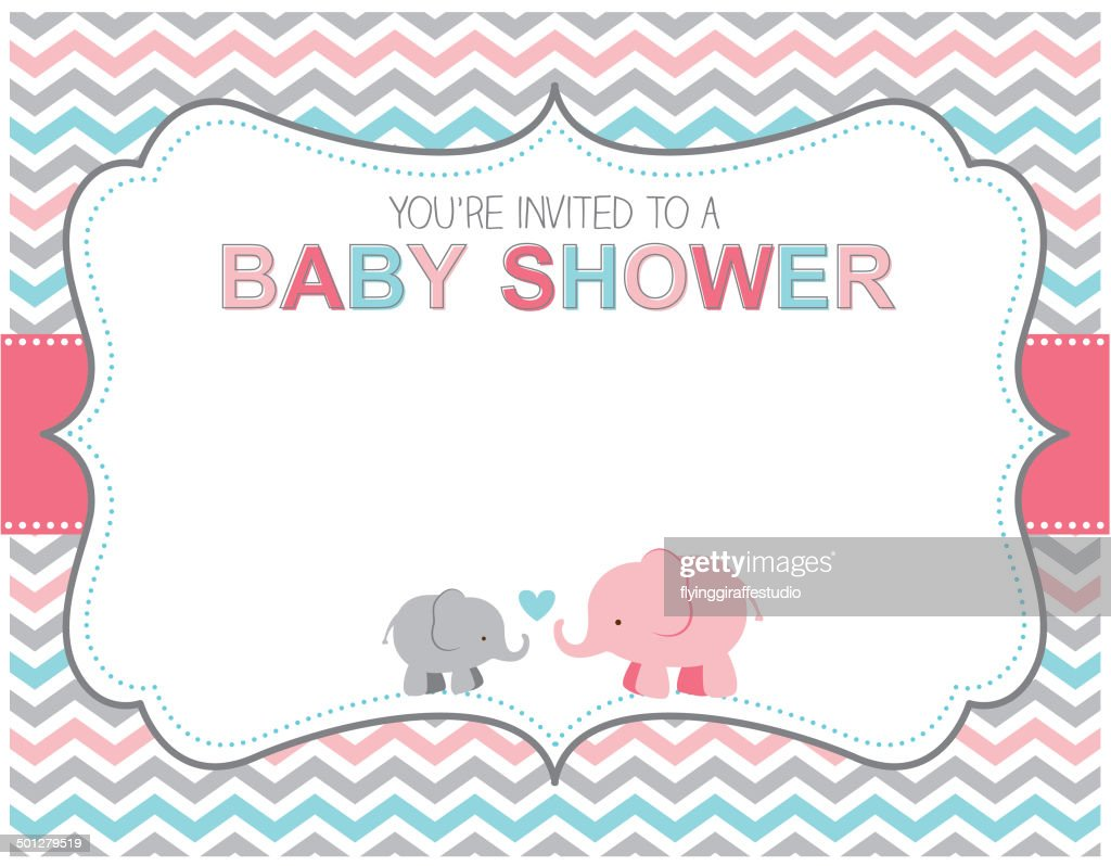 Elephant Baby Shower Invitation Vector Art | Getty Images