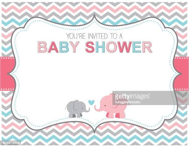 ilustrações de stock, clip art, desenhos animados e ícones de elefante bebê chuveiro convite - chadebebe