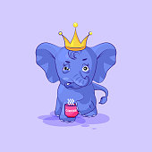 elephant calf sticker emoticon with angry emotion