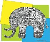 Elephant colour rectangle. Design.