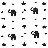 Elephant, crown and bow tie baby black white pattern wallpaper