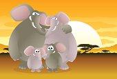 Elephant Family on an african plain