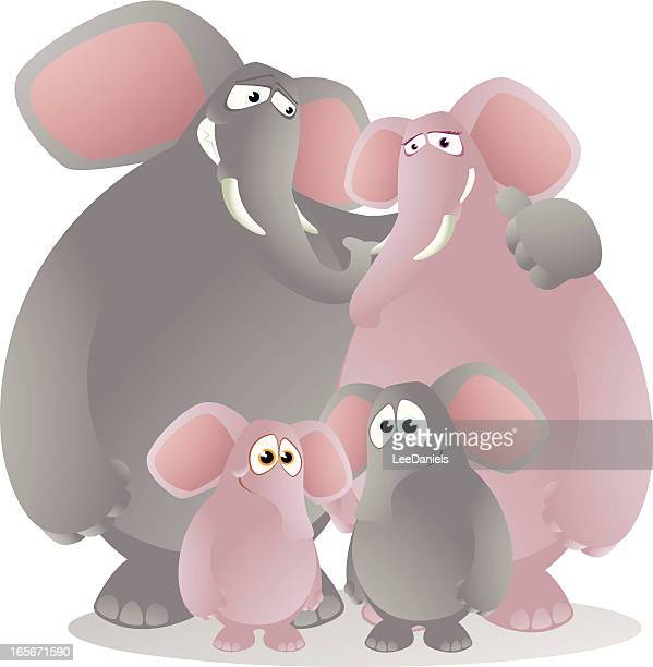 elephant family - kids hugging mom cartoon stock illustrations