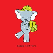 elephant goes to school with backpack