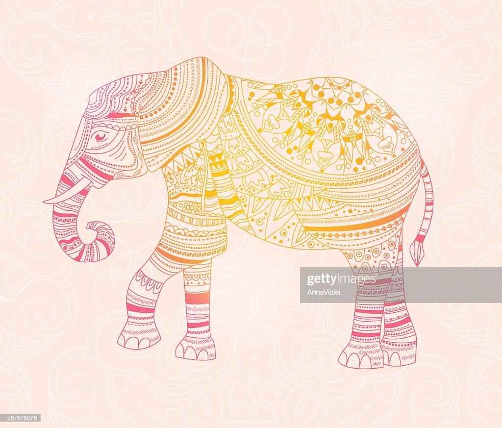 Elephant. Hand drawn