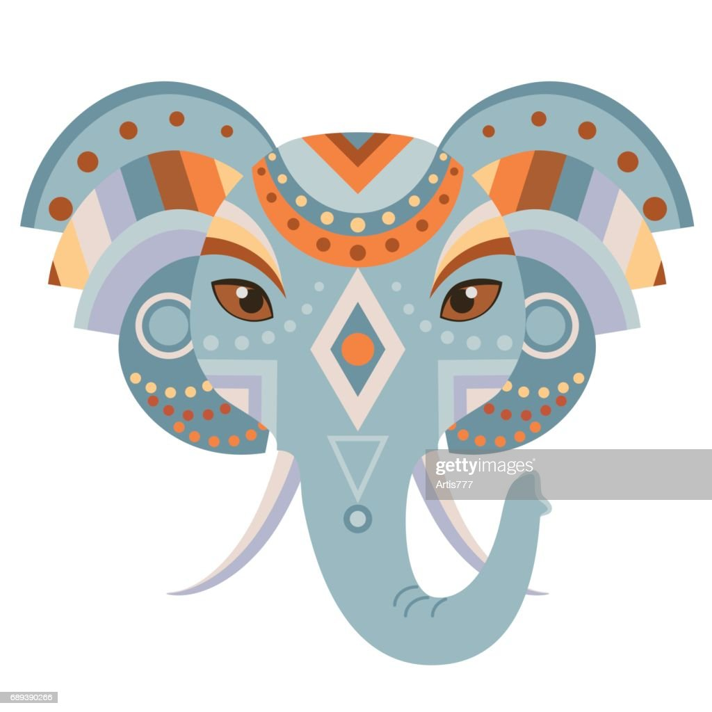 Elephant Head icon. Vector decorative Emblem.