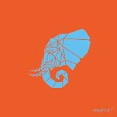 Elephant head in geometry style made of triangle shapes. Blue elephant on orange background. Vector illustration.