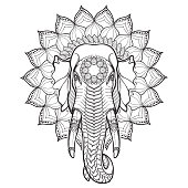Elephant head on lotus mandala. Popular motiff in Asian arts and crafts. Intricate hand drawing isolated on white background. Tattoo design.