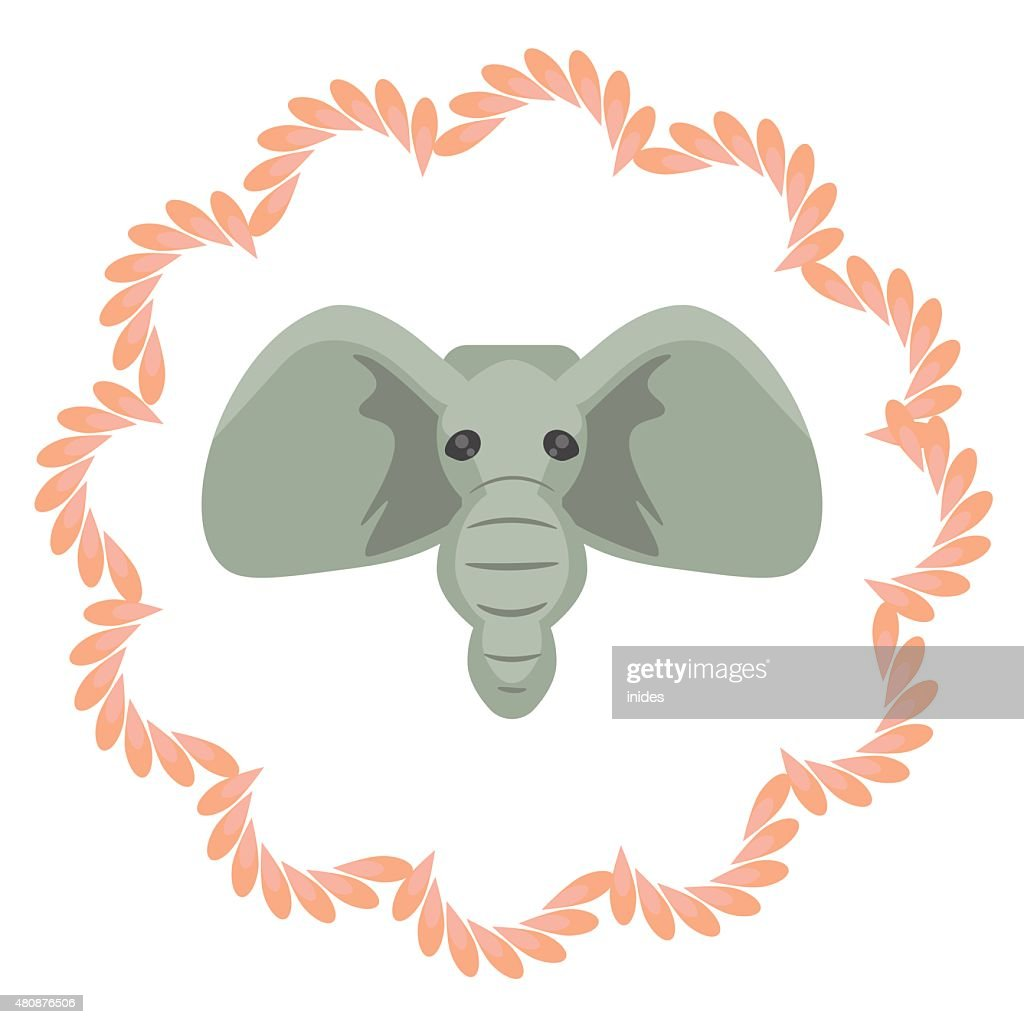 Elephant head vector cartoon illustartion. Grey african mammal