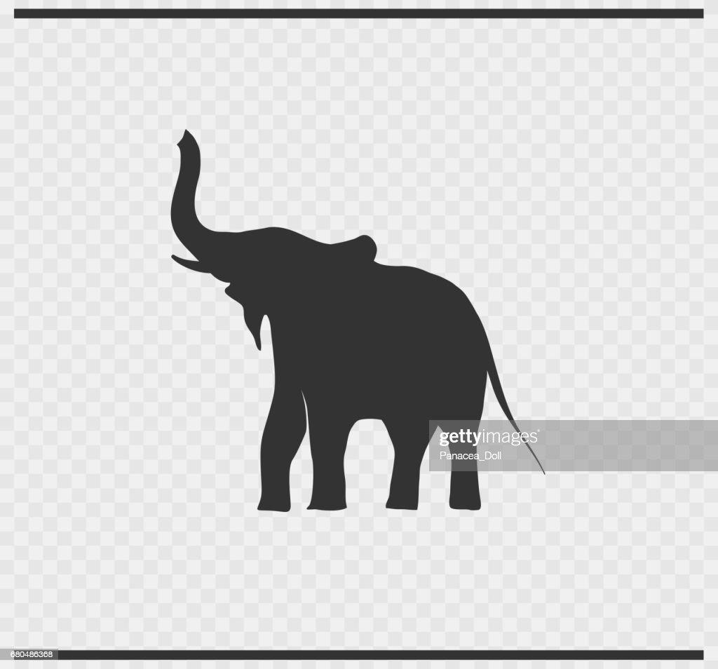 elephant icon black color on transparent background