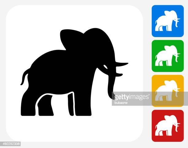 Elephant Icon Flat Graphic Design