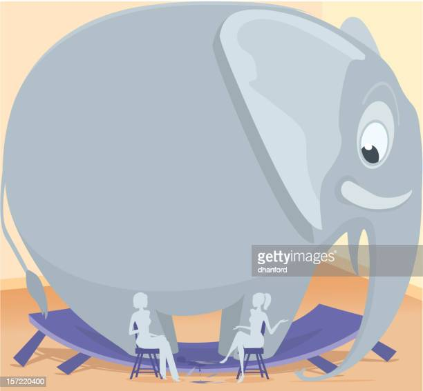 elephant in the room - domestic room stock illustrations, clip art, cartoons, & icons