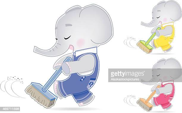 Elephant is making spring-cleaning.